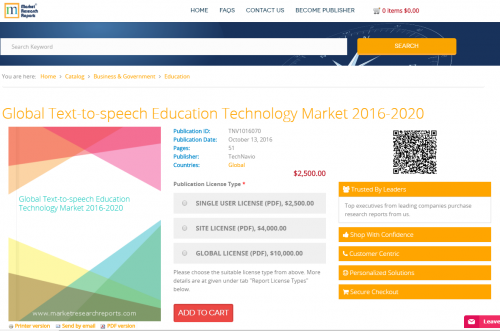 Global Text-to-speech Education Technology Market 2016-2020'