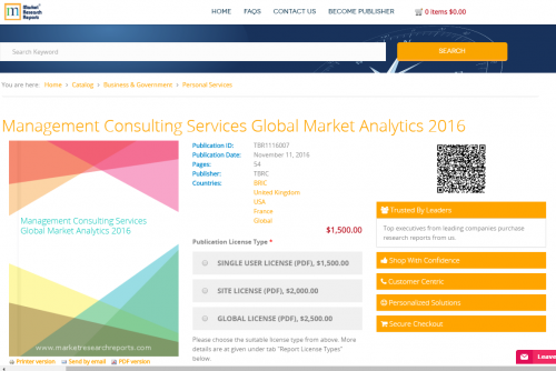 Management Consulting Services Global Market Analytics 2016'