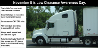 "November 8 Has Been Named ""Low Clearance Awareness"