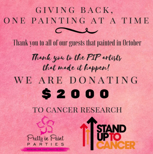 Pretty in Paint Parties Donates $2,000 to Stand Up To Cancer'
