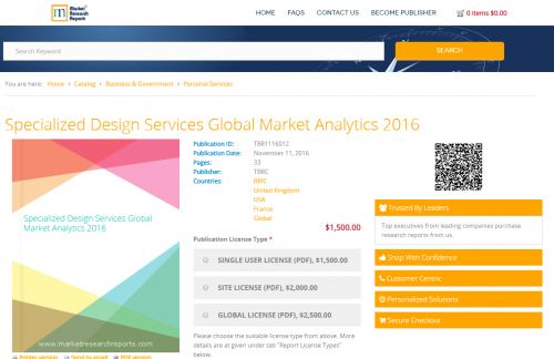 Specialized Design Services Global Market Analytics 2016'