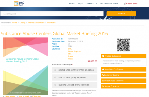 Substance Abuse Centers Global Market Briefing 2016'