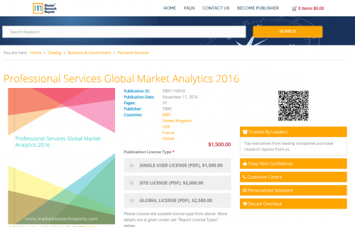 Professional Services Global Market Analytics 2016'