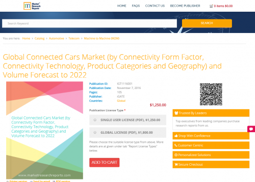 Global Connected Cars Market (by Connectivity Form Factor'