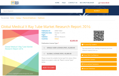 Global Medical X-Ray Tube Market Research Report 2016'