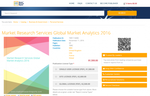 Market Research Services Global Market Analytics 2016'