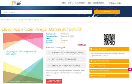 Global Apple Cider Vinegar Market 2016 - 2020'