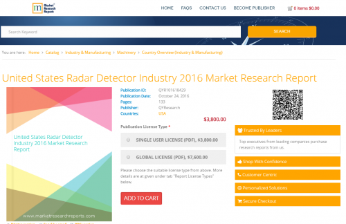 United States Radar Detector Industry 2016 Market Research'