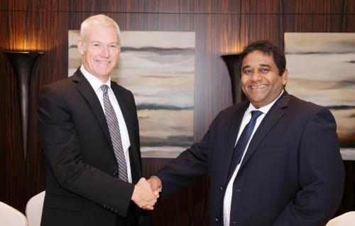 Peter England, RAKBANK CEO and Kapila Ariyaratne, CEO of Sey'