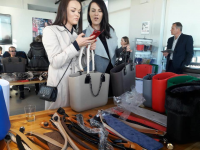 Attendees take a look at Sobo Totes at the NYC Pop Up Show