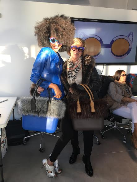 Two Pop Up Show Participants Wear the Winter Sobo Tote'