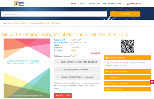 Global CAD Market in Industrial Machinery Industry 2016-2020'