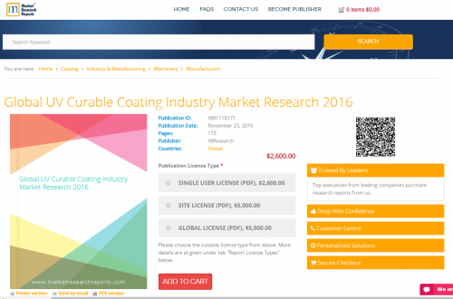 Global UV Curable Coating Industry Market Research 2016'