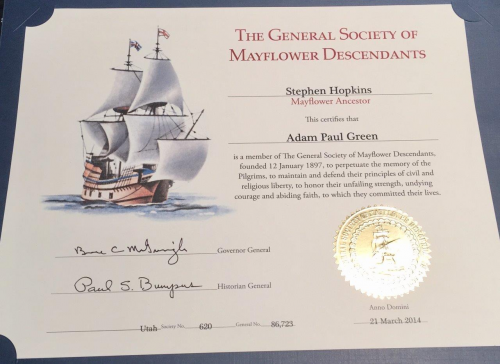 General Society of Mayflower Descendant, Adam Paul Green'