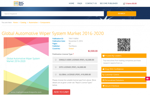 Global Automotive Wiper System Market 2016 - 2020'