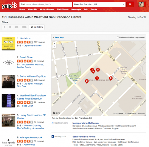 Yelp Screenshot displaying local businesses within a mall'