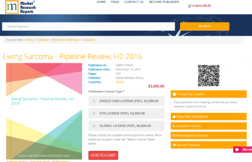 Ewing Sarcoma - Pipeline Review, H2 2016'
