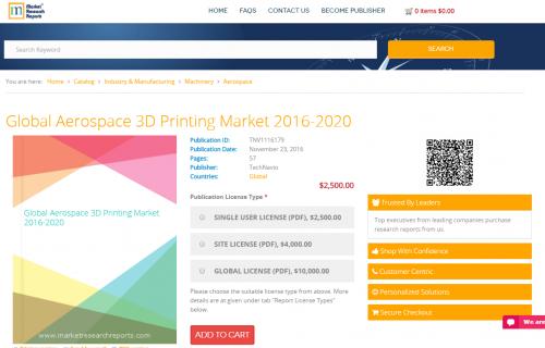 Global Aerospace 3D Printing Market 2016 - 2020'