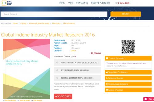 Global Indene Industry Market Research 2016'