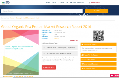 Global Organic Pea Protein Market Research Report 2016'
