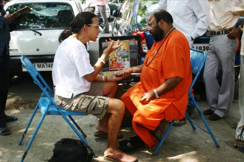 Reading Palms In Bombay, India'