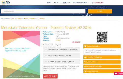 Metastatic Colorectal Cancer - Pipeline Review, H2 2016'