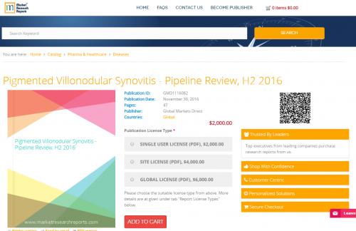 Pigmented Villonodular Synovitis - Pipeline Review, H2 2016'