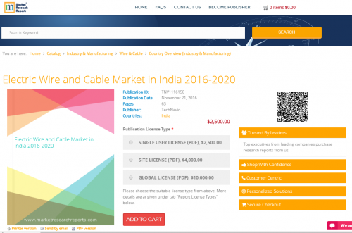 Electric Wire and Cable Market in India 2016 - 2020'