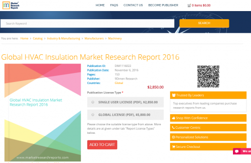 Global HVAC Insulation Market Research Report 2016'