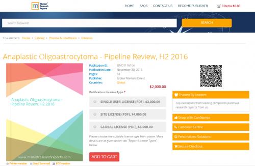 Anaplastic Oligoastrocytoma - Pipeline Review, H2 2016'