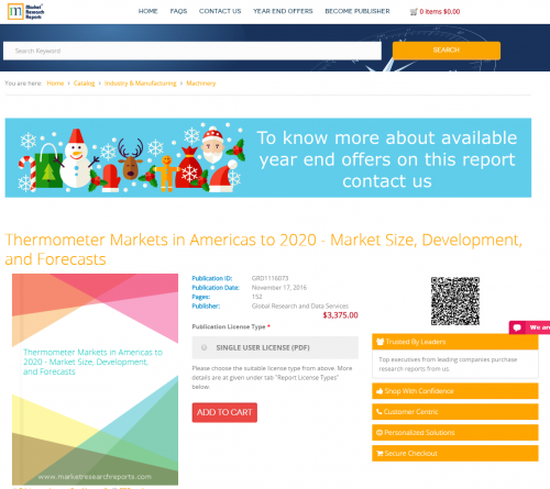 Thermometer Markets in Americas to 2020 - Market Size'