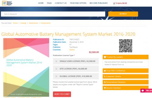 Global Automotive Battery Management System Market 2016-2020'