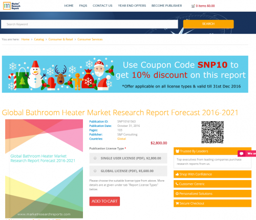 Global Bathroom Heater Market Research Report Forecast 2016'
