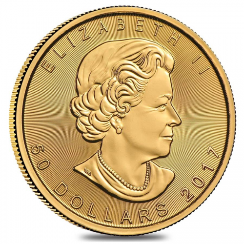 2017 1 oz Canadian Gold Maple Leaf $50 Coin reverse'