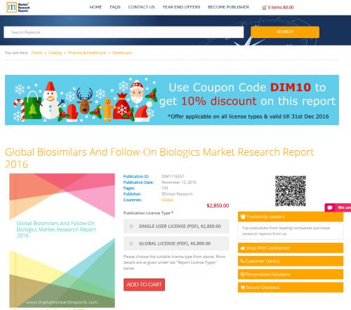 Global Biosimilars and Follow-On Biologics Market Research'