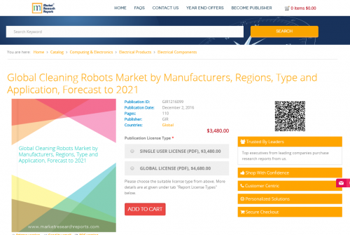 Global Cleaning Robots Market by Manufacturers, Regions'
