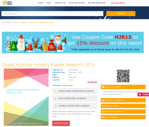 Global Xylanase Industry Market Research 2016'