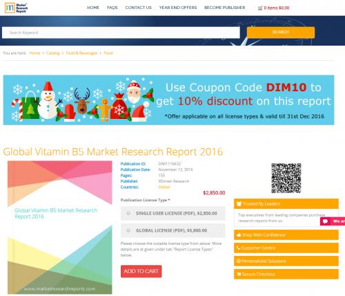 Global Vitamin B5 Market Research Report 2016'