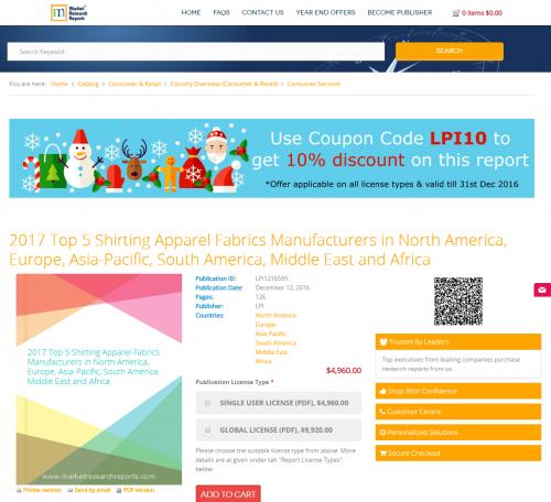 2017 Top 5 Shirting Apparel Fabrics Manufacturers'