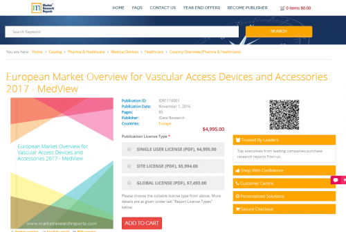 European Market Overview for Vascular Access Devices'