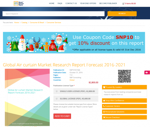 Global Air curtain Market Research Report Forecast 2016-2021'