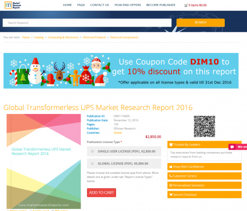 Global Transformerless UPS Market Research Report 2016'