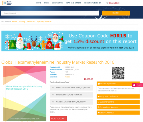 Global Hexamethyleneimine Industry Market Research 2016'