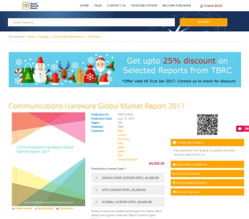 Communications Hardware Global Market Report 2017'