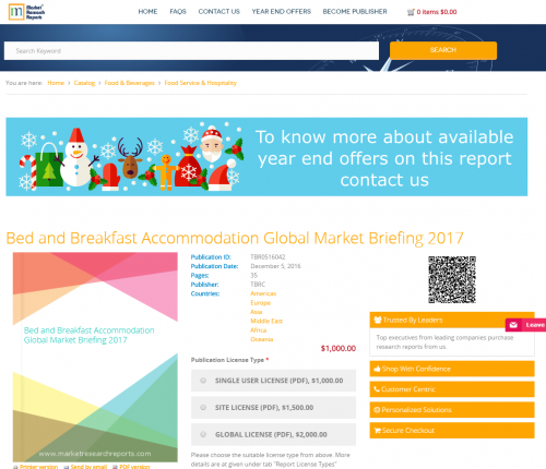 Bed and Breakfast Accommodation Global Market Briefing 2017'