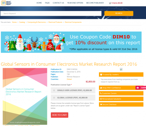 Global Sensors in Consumer Electronics Market Research 2016'
