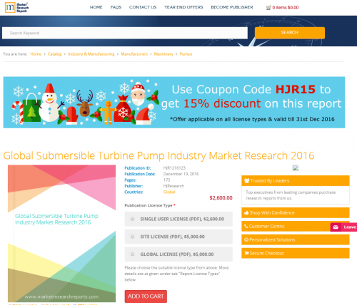 Global Submersible Turbine Pump Industry Market Research'
