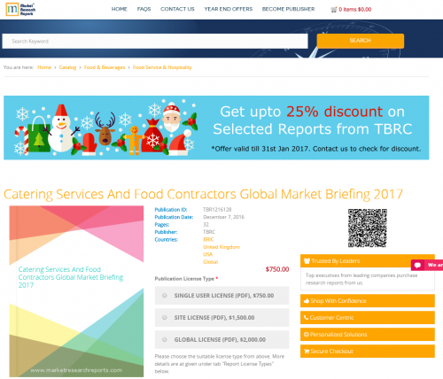 Catering Services And Food Contractors Global Market 2017'