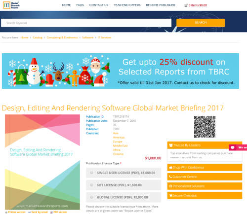 Design, Editing And Rendering Software Global Market 2017'