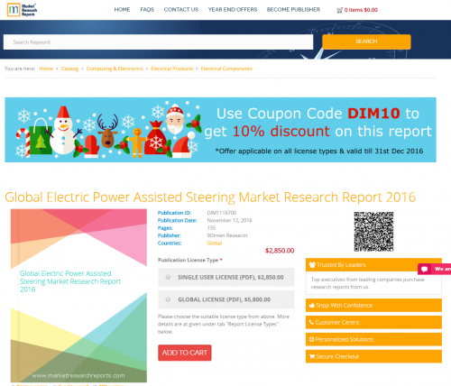 Global Electric Power Assisted Steering Market Research'